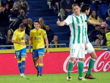 Calleri celebra un gol con Las Palmas