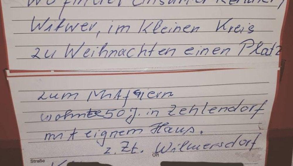 La nota de un viudo alemán que busca compañía por Navidad