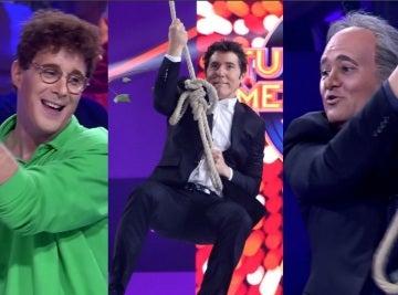 Manel Fuentes, David Amor y Secun de la Rosa sobrevuelan 'a lo Tarzán' el plató de 'Tu cara me suena'