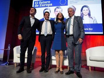 Albert Rivera, Emmanuel Macron, Inés Arrimadas y Vargas Llosa