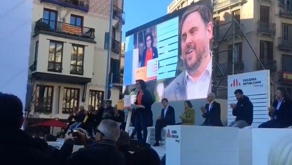 Marta Rovira en un acto de campaña de ERC en Barcelona