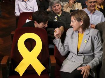 Carme Forcadell en un mitin en Sabadell