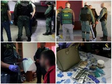 Combo de fotografías facilitadas por la Guardia Civil de una operación conjunta con la Policía de Rumanía, coordinada por Europol y Eurojust