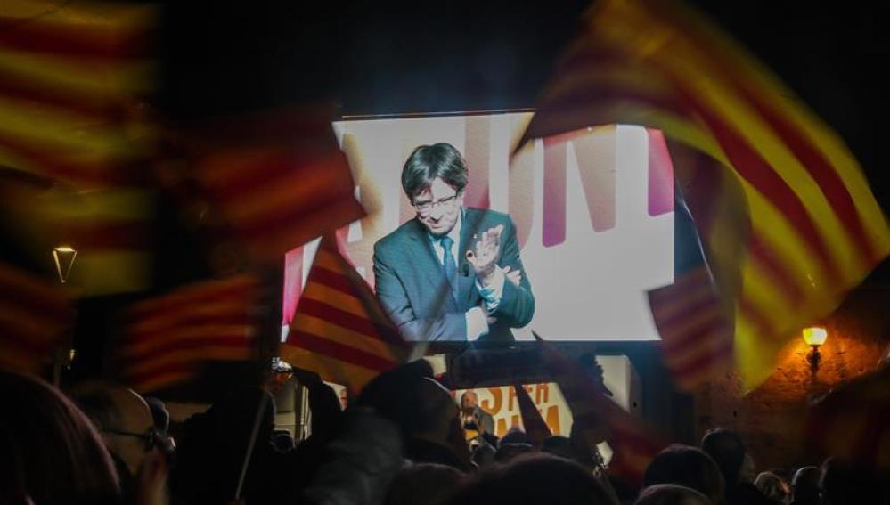 Intervención por videoconferencia desde Bruselas de Puigdemont
