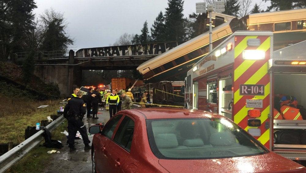 El tren descarrilado en Seattle