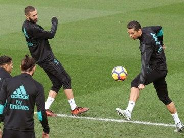 Benzema y Cristiano en Valdebebas