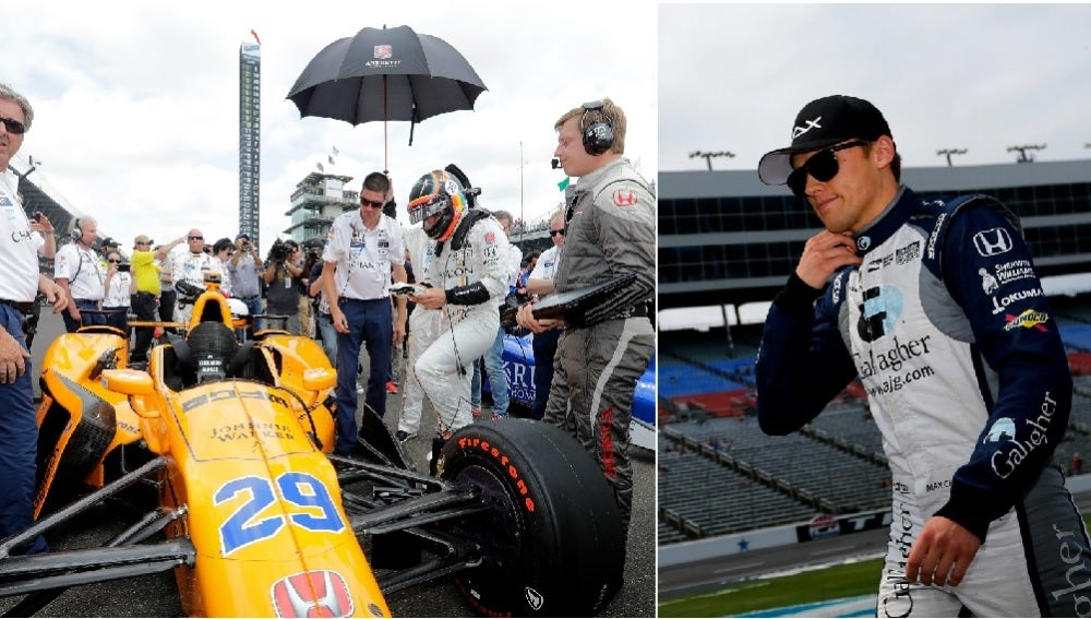Fernando Alonso se sube a su monoplaza en la Indy; Max Chilton camina por un circuito