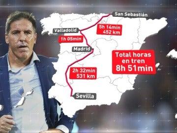 La odisea de Berizzo para llegar a San Sebastián: 8 horas y 920 km