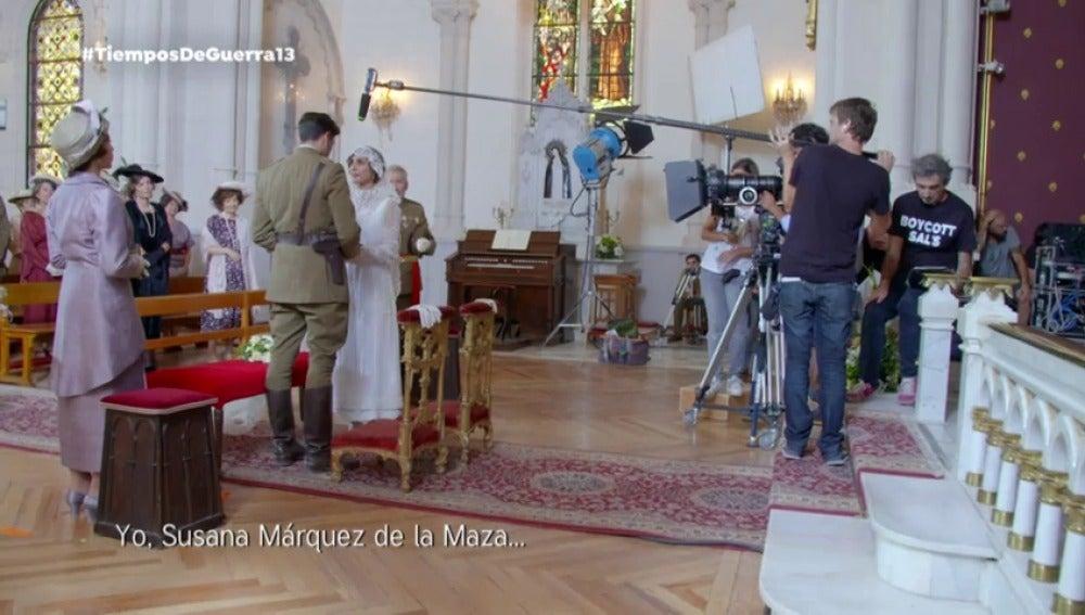 Rodaje de la boda de Fidel y Julia en 'Tiempos de Guerra'.