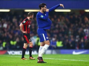 Morata dedica su gol con el Chelsea a su mujer embarazada