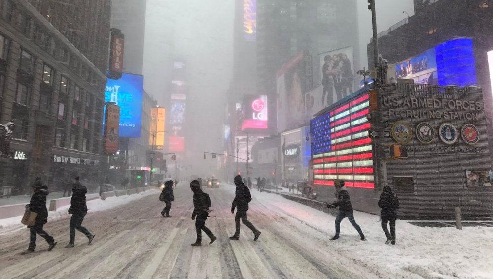 Nieva sobre Times Square