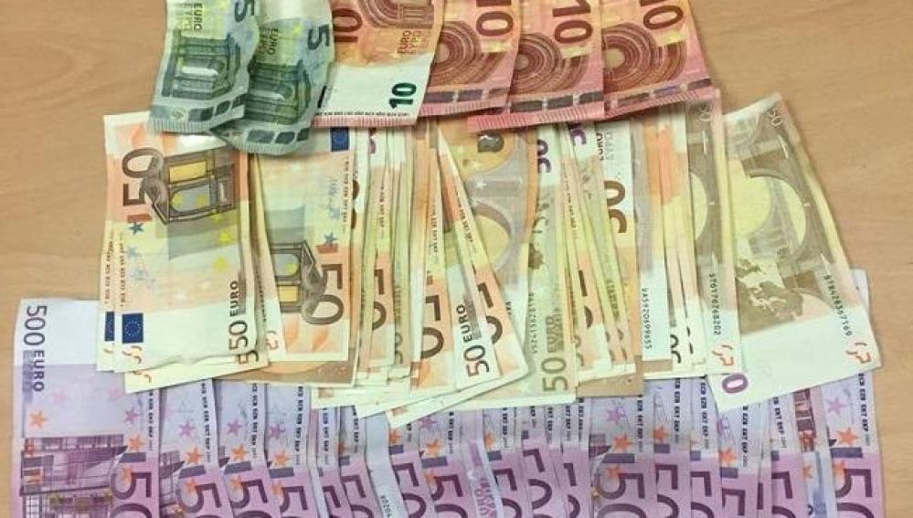 El dinero incautado al indigente