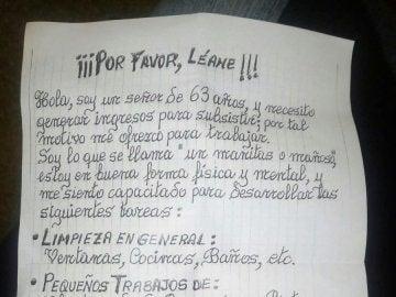 La carta de un hombre que busca trabajo en Valencia