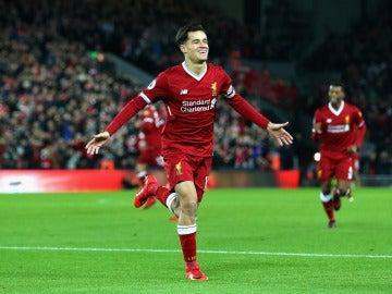 Coutinho celebra uno de sus goles con el Liverpool