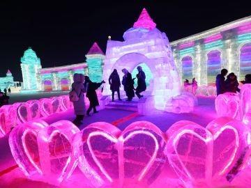 Corazones de hielo en el Festival de Harbin