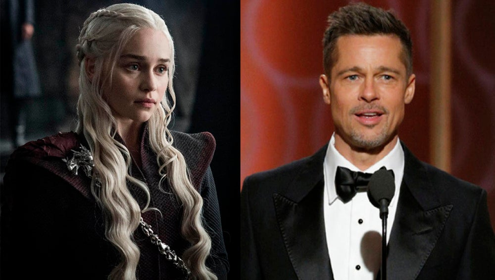 Emilia Clarke y Brad Pitt