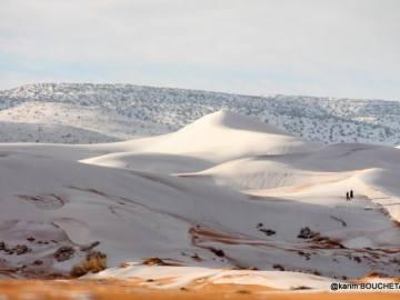 El desierto de Sáhara cubierto de nieve