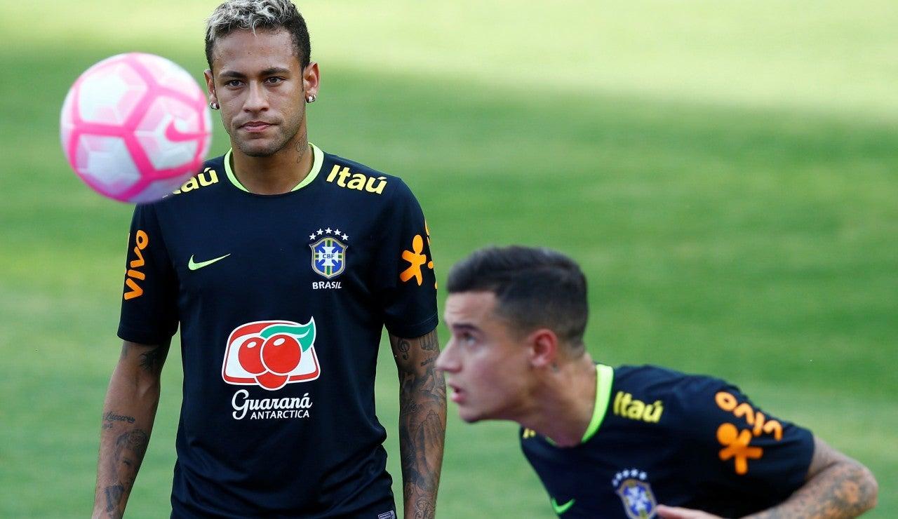 Coutinho y Neymar, en un entrenamiento con la selección de Brasil