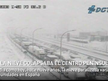La nieve colapsaba varias comunidades céntricas de España hace nueve años