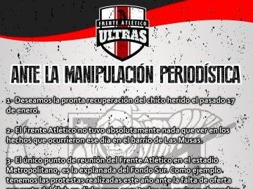 Comunicado del Frente Atlético