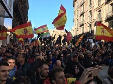 Manifestación por la equiparación salarial entre policías y Mossos en Barcelona