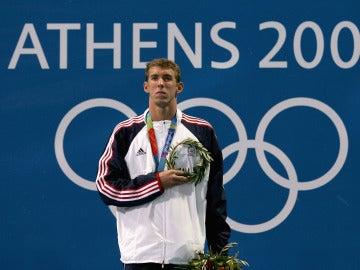 Michael Phelps, durante los Juegos de Atenas de 2004