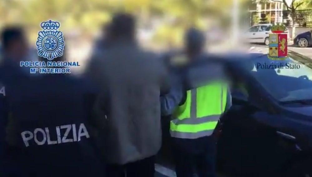 Imagen de la detención del mafioso Pellegrinetti
