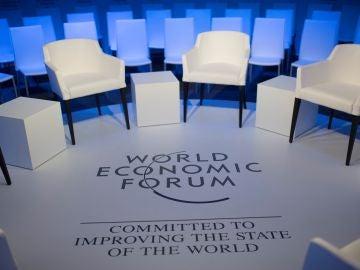 Vista de una de las salas en la víspera de la celebración del Foro Económico Mundial de Davos
