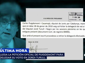 JxCat retira del orden del día de la reunión de la Mesa la solicitud de Puigdemont de ejercer el voto delegado