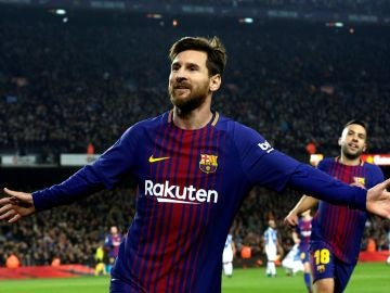 Messi celebra uno de sus goles con el Barcelona