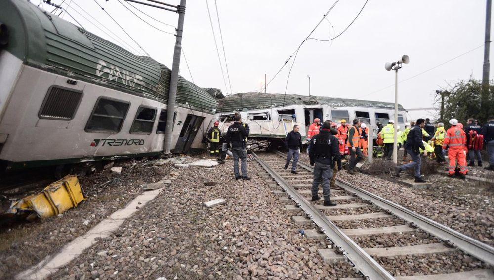 Descarrilamiento de un tren en Milán