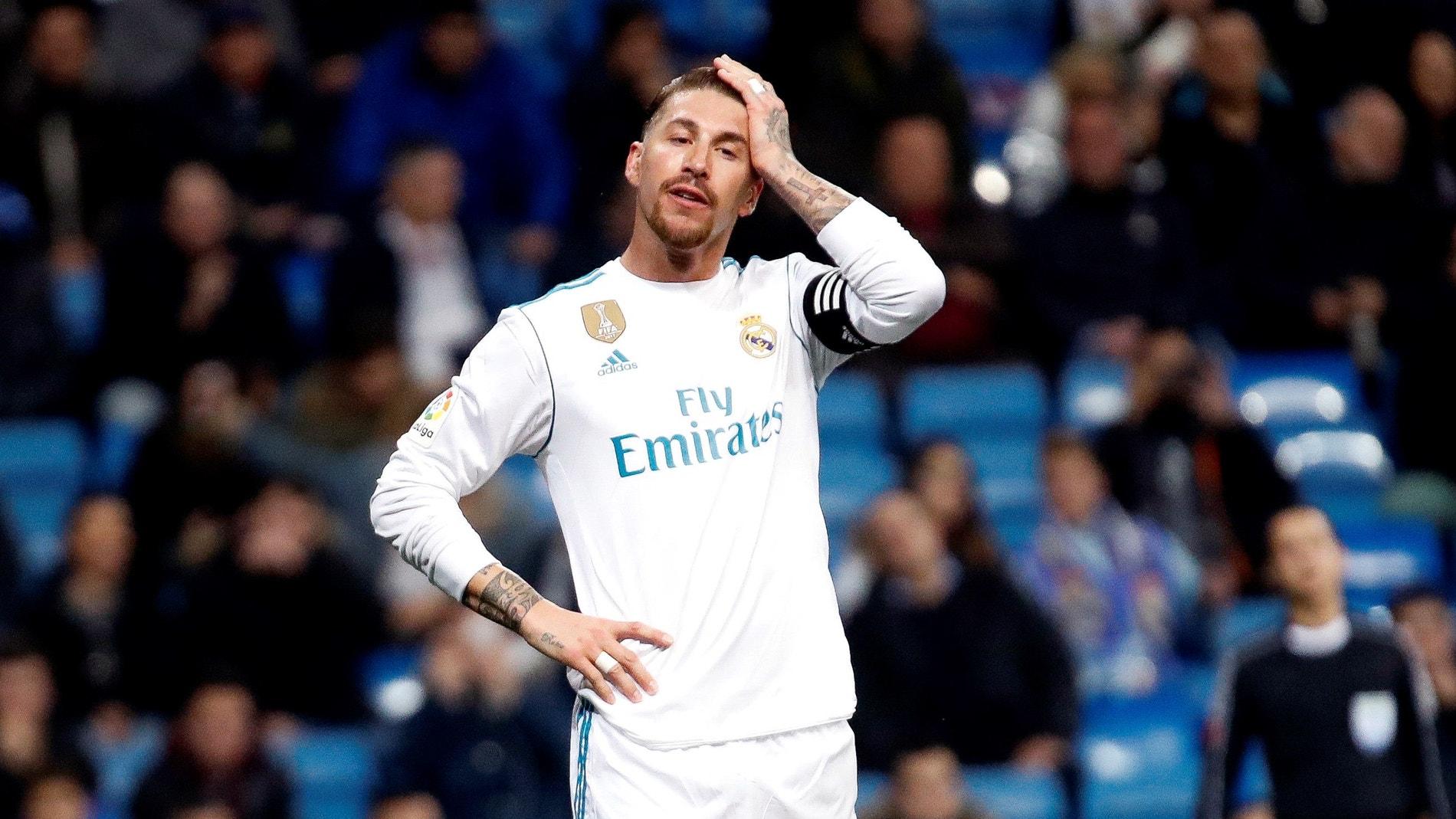 Sergio Ramos se lamenta durante el partido ante el Leganés