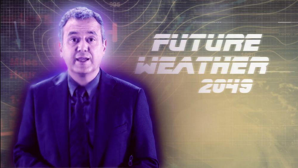 Roberto Brasero da el pronóstico del tiempo desde el futuro