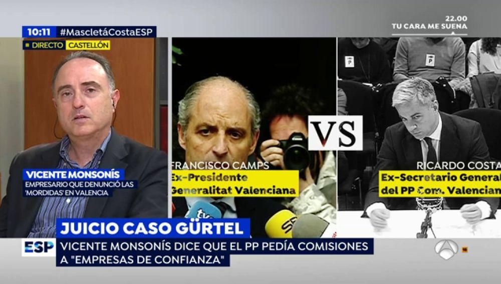 """El empresario Vicente Monsonís, sobre el caso Gürtel: """"el PP pedía comisiones a 'empresas de confianza'"""""""