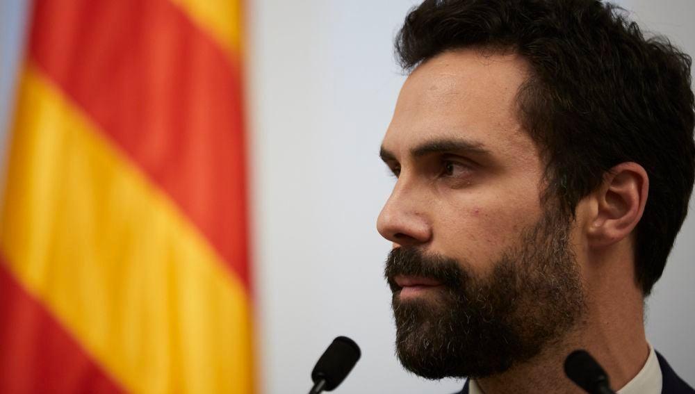 El presidente del Parlament, Roger Torrent (ERC), durante una comparecencia en Barcelona