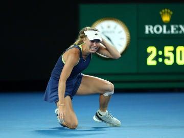 Caroline Wozniacki celebra su triunfo en el Open de Australia