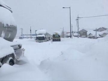 Bloqueados por la nieve en Tokio