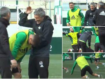 Graciosa caída de Joaquín durante el entrenamiento del Betis