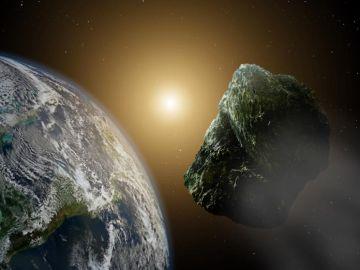 Recreación artística de un asteroide pasando por las cercanías de nuestro planeta