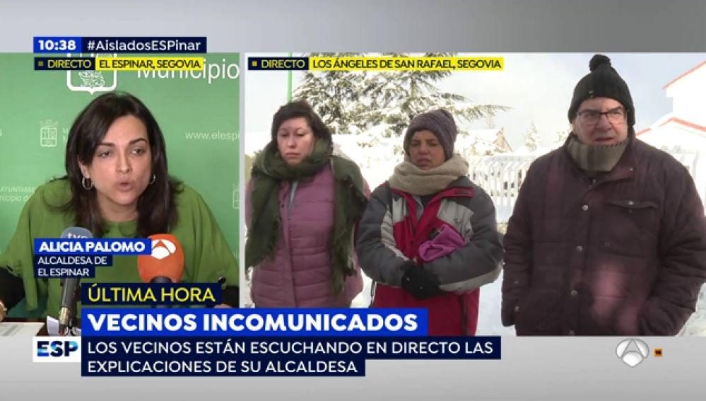La alcaldesa de Los Ángeles de San Rafael carga contra 'Espejo Público' y los vecinos  demuestran que llevan cinco días atrapados tras la nevada