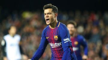 Coutinho celebra su gol con el Barça