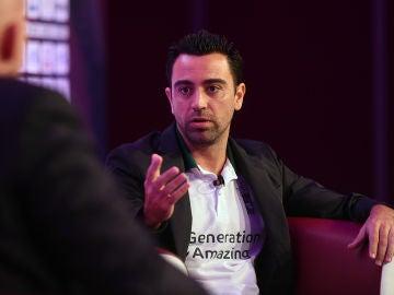 Xavi Hernández, durante una conferencia