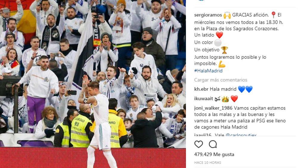 Sergio Ramos y su llamamiento a la afición