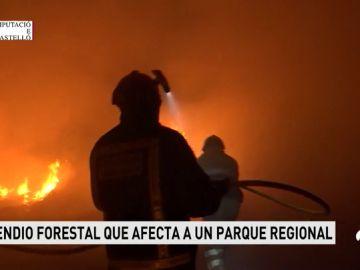Los bomberos tratan de controlar el incendio declarado en Torreblanca, en Castellón