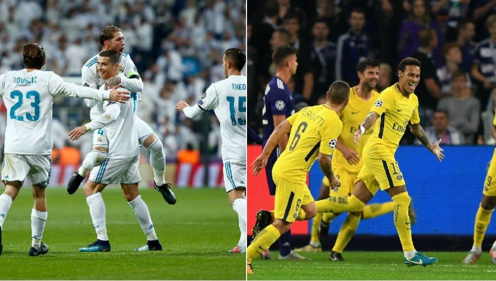 Real Madrid y PSG celebran un gol en la fase de grupos de la Champions