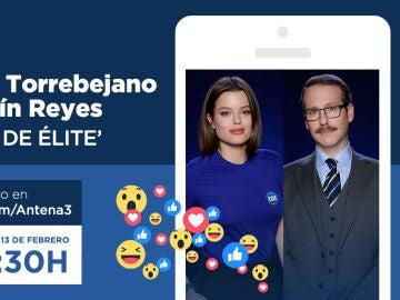 Adriana Torrebejano y Joaquín Reyes, este martes en directo con los seguidores de 'Cuerpo de Élite' en Facebook Live