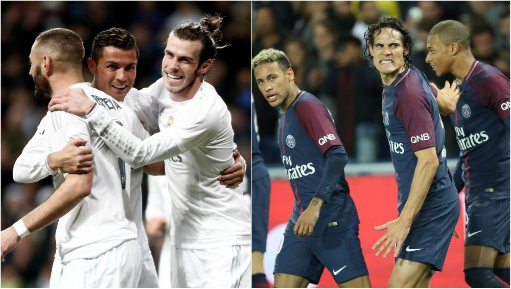 Los tridentes ofensivos de Madrid y PSG