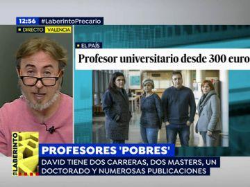 """David Mascarell, uno de los profesores universitarios que denuncia los bajos salarios: """" Quremos que se nos retribuya como corresponde"""