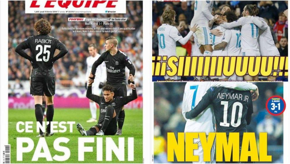 Las portadas de los medios tras el Madrid-PSG