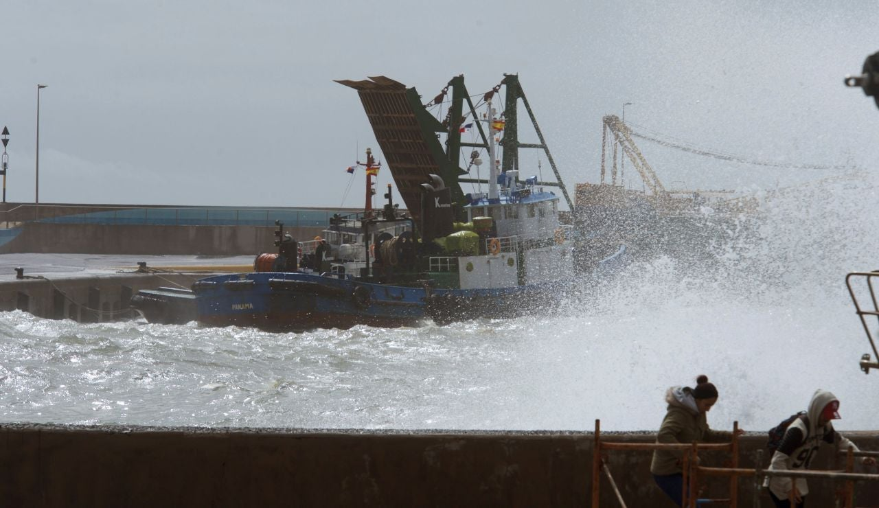 Barcos de carga con maquinaria pesada en el muelle de Gran Tarajal